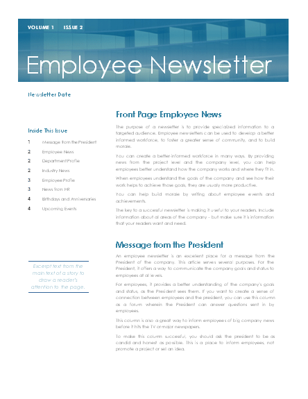 internal communication in workplace newsletter